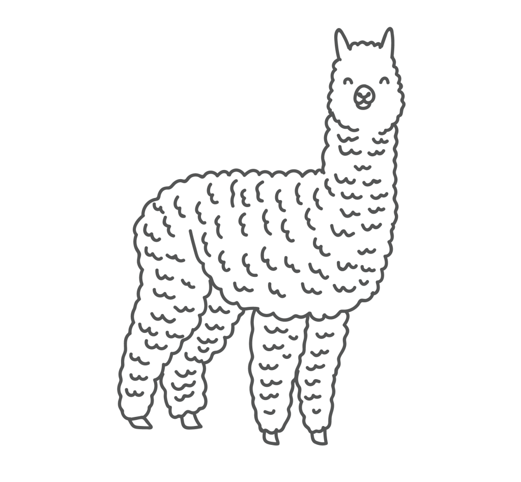 A playful line drawing of an Alpaca