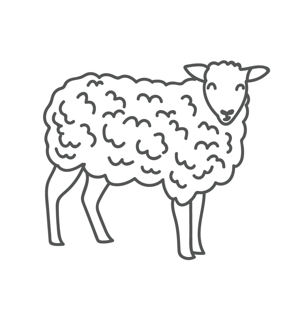 A playful line drawing of a sheep